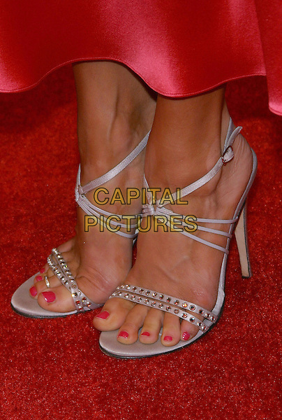 "ROSA BLASI'S SHOES.""The Grudge"" Premiere, held at the Mann Village Theatre,. Westwood, California, USA, 12th October 2004.  .close up silver strappy open toe.**UK SALES ONLY**.Ref: ADM.www.capitalpictures.com.sales@capitalpictures.com.©JW/AdMedia/Capital Pictures ."
