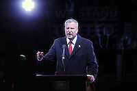 www.acepixs.com<br /> January 19, 2017  New York City<br /> <br /> Bill de Blasio speaks onstage during the We Stand United Rally outside Trump International Hotel &amp; Tower on January 19, 2017 in New York City.<br /> <br /> Credit: Kristin Callahan/ACE Pictures<br /> <br /> Tel: 646 769 0430<br /> Email: info@acepixs.com