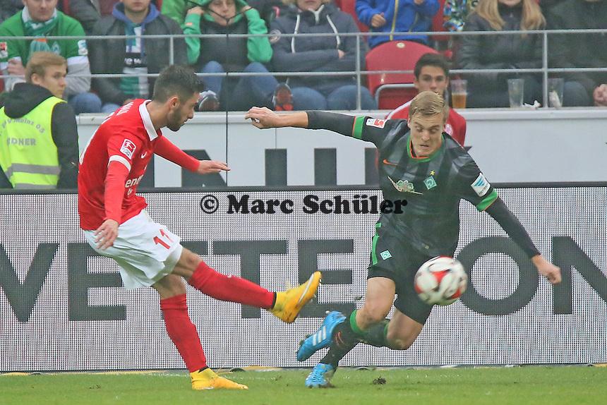 Yunus Malli (Mainz) gegen Felix Kroos (Werder) - 1. FSV Mainz 05 vs. SV Werder Bremenl, Coface Arena
