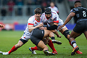 3rd February 2019, AJ Bell Stadium, Salford, England; Premiership Rugby Cup, Sale Sharks versus Newcastle Falcons; Andrei Ostrikov and Ben Curry of Sale Sharks make the tackle