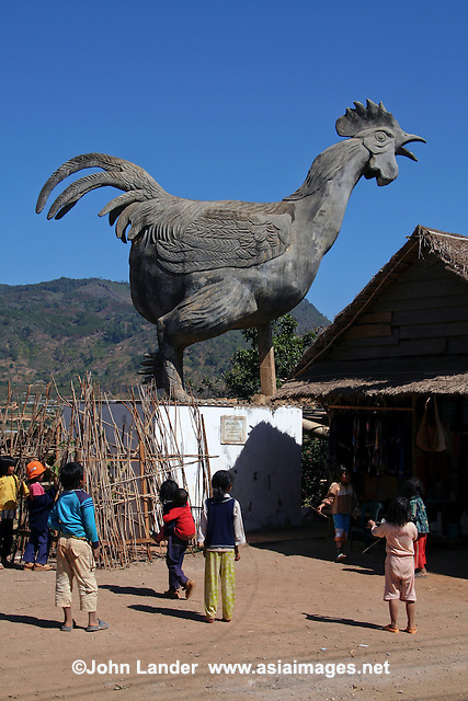 A giant concrete chicken towers over the village of Lang Con Ca to scare predators away from the real chickens, though there are many different stories explaining its background.  The most plausible is the hilltribe villagers retreated into the hills until the government encouraged them to return to town - the statue was erected in recognition of the villagers' efforts. Perhaps the village should now be known as rooster village, but the old name has stuck.
