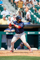 Pawtucket Red Sox catcher Oscar Hernandez (7) at bat during a game against the Buffalo Bisons on June 28, 2018 at Coca-Cola Field in Buffalo, New York.  Buffalo defeated Pawtucket 8-1.  (Mike Janes/Four Seam Images)