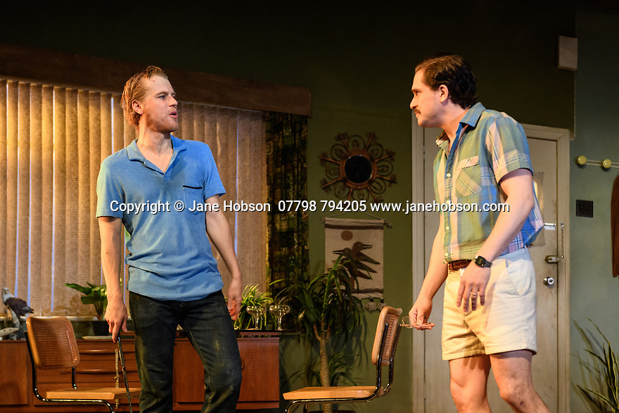 """The first UK production, since the death of playwright Sam Shepard's play """"True West"""", opens at the Vaudeville Theatre, directed by Matthew Dunster. Kit Harington and Johnny Flynn star, as brothers Austin and Lee, with Madeleine Potter and Donald Sage Mackay completing the cast. Picture shows: Johnny Flynn (Lee) and Kit Harington (Austin)."""