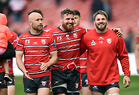 Ben Morgan of Gloucester Rugby celebrates with team-mates Willi Heinz and Jaco Kriel. Gallagher Premiership match, between Gloucester Rugby and Bath Rugby on April 13, 2019 at Kingsholm Stadium in Gloucester, England. Photo by: Patrick Khachfe / Onside Images