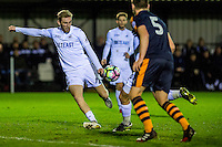 Monday 16 January 2017<br /> Pictured: Oli McBurnie Swansea City takes a shot at goal <br /> Re: During the Swansea City U23's match against Newcastle United U23's at the Landore Training facility, Swansea Wales UK
