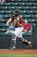 Hickory Crawdads catcher Chuck Moorman (29) makes a throw to second base against the Charleston RiverDogs at L.P. Frans Stadium on August 25, 2015 in Hickory, North Carolina.  The Crawdads defeated the RiverDogs 7-4.  (Brian Westerholt/Four Seam Images)
