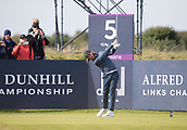 6th October 2017, Carnoustie Golf Links, Carnoustie, Scotland; Alfred Dunhill Links Championship, second round; England's Tommy Fleetwood tees off on the fifth hole during the second round at the Alfred Dunhill Links Championship on the Championship Links, Carnoustie