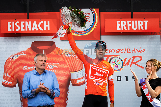 Race leader Jasper Stuyven (BEL) Trek-Segafredo wins the overall general classification at the end of Stage 4 of the Deutschland Tour 2019, running 159.5km from Eisenach to Erfurt, Germany. 1st September 2019.<br /> Picture: ASO/Henning Angerer | Cyclefile<br /> All photos usage must carry mandatory copyright credit (© Cyclefile | ASO/Henning Angerer)