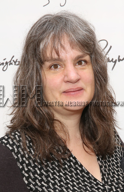 Pam MacKinnon attends the photo call for Playwrights Horizons world premiere production of 'Log Cabin' on May 8, 2018 at Playwrights Horizons rehearsal hall in New York City.