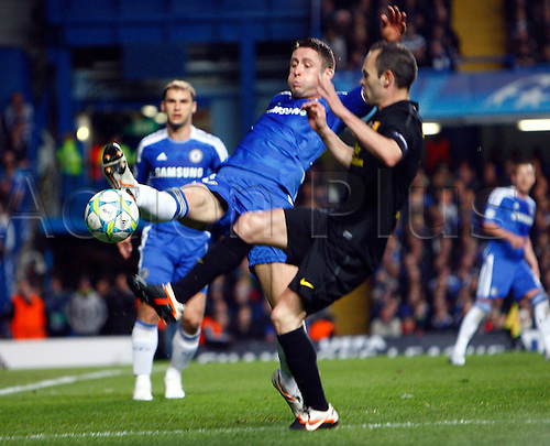 18.04.2012. Stamford Bridge, Chelsea, London. Chelsea's Gary Cahill during the Champions League Semi Final 1st  leg match between Chelsea and Barcelona  at Stamford Bridge, Stadium on April 18, 2012 in London, England.............