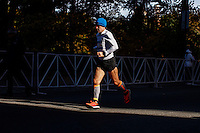 New York City, NY. 02 November 2014.A Runner attend the 29th New York City Marathon as HE arrive to Central park.