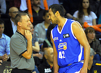 Tai Wesley (right) talks to referee Sean Cronin during the national basketball league match between Wellington Saints and Mountain Airs at TSB Bank Arena, Wellington, New Zealand on Friday, 6 May 2016. Photo: Dave Lintott / lintottphoto.co.nz