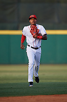 Florida Fire Frogs center fielder Cristian Pache (25) jogs back to the dugout during a game against the Palm Beach Cardinals on May 1, 2018 at Osceola County Stadium in Kissimmee, Florida.  Florida defeated Palm Beach 3-2.  (Mike Janes/Four Seam Images)