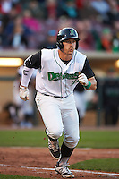 Dayton Dragons outfielder Brian O'Grady (21) runs to first during a game against the Great Lakes Loons on May 21, 2015 at Fifth Third Field in Dayton, Ohio.  Great Lakes defeated Dayton 4-3.  (Mike Janes/Four Seam Images)