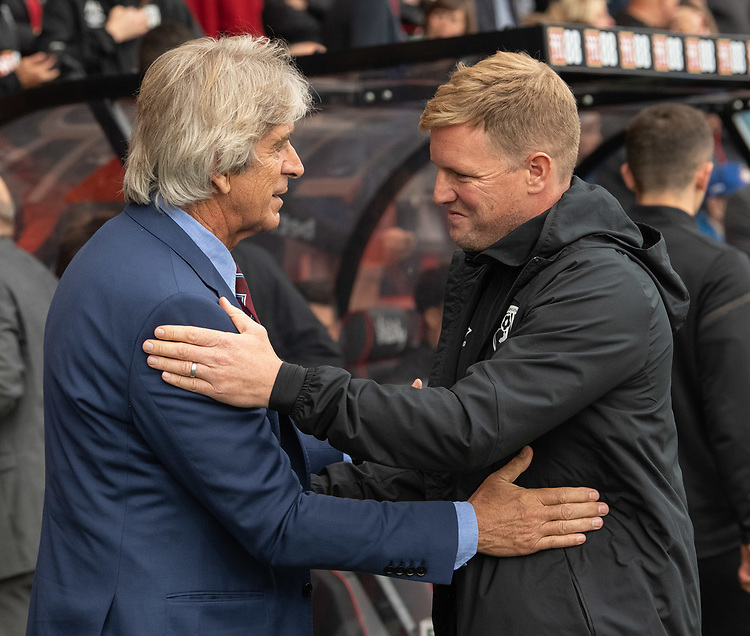 West Ham United manager Manuel Pellegrini  (left) & Bournemouth manager Eddie Howe (right) <br /> <br /> Photographer David Horton/CameraSport<br /> <br /> The Premier League - Bournemouth v West Ham United - Saturday 28th September 2019 - Vitality Stadium - Bournemouth<br /> <br /> World Copyright © 2019 CameraSport. All rights reserved. 43 Linden Ave. Countesthorpe. Leicester. England. LE8 5PG - Tel: +44 (0) 116 277 4147 - admin@camerasport.com - www.camerasport.com