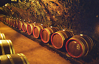 Oremus winery in Tolcsva, Tokaj: The underground cellar carved in the volcanic rock with long tunnels with rows of barrels of Tokaj wine.. Oremus is owned by the Alvarez family that also owns Vega Sicilia in Spain It is managed by Andras Bacso. Credit Per Karlsson BKWine.com