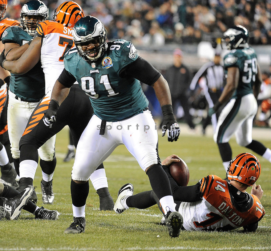 Philadelphia Eagles Fletcher Cox (91) in action during a game against the Bengals on December 13, 2012 at Lincoln Financial Field in Philadelphia, PA. The Bengals beat the Eagles 34-13.