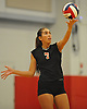 Pierson No. 7 Chloe Collette-Schindler serves during the Suffolk County varsity girls' volleyball Class D final against Shelter Island at Suffolk Community College Grant Campus on Monday, November 9, 2015. Shelter Island won 25-9, 25-4, 25-13.
