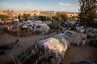 State House IDP camp. The former  home  of the  governor of the British protectorate of Somaliland is now a camp  with make shift shelters for thousands of people displaced by the wars in Somalia.