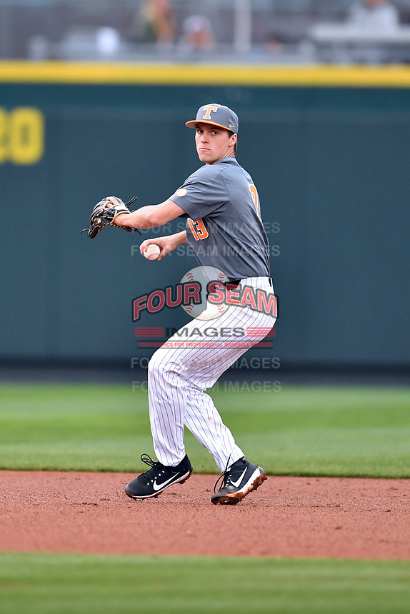 Tennessee Volunteers shortstop Andre Lipcius (13) throws to first during a game against the University of North Carolina Greensboro (UNCG) Spartans at Lindsey Nelson Stadium on February 24, 2018 in Knoxville, Tennessee. The Volunteers defeated Spartans 11-4. (Tony Farlow/Four Seam Images)