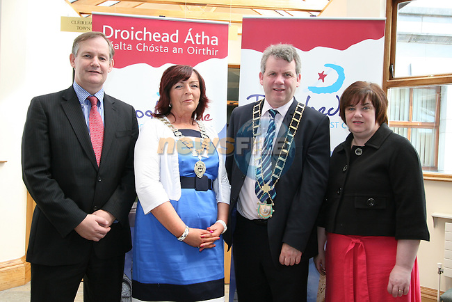 County Manager, Con Murray, Chairperson of Drogheda Economic Forum, Patricia Rooney, Mayor Michael O'Dowd and Town Clerk, Joan Martin at the Launch of the new Brand for Drogheda Economic Forum...Photo NEWSFILE/Jenny Matthews.(Photo credit should read Jenny Matthews/NEWSFILE)....This Picture has been sent you under the condtions enclosed by:.Newsfile Ltd..The Studio,.Millmount Abbey,.Drogheda,.Co Meath..Ireland..Tel: +353(0)41-9871240.Fax: +353(0)41-9871260.GSM: +353(0)86-2500958.email: pictures@newsfile.ie.www.newsfile.ie.FTP: 193.120.102.198.