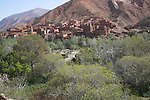 Kasbah ait Moutad and village of mud houses in Dades valley Morocco north Africa
