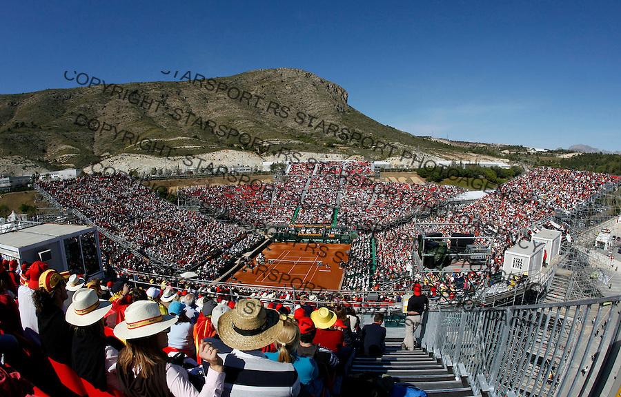Tenis, DAVIS CUP, World group, first round.SPAIN Vs. SERBIA.Rafael Nadal Vs. Janko Tipsarevic.Stadium at Terra Mitica, Benidorm.Benidorm, 03.07.2009..Photo: © Srdjan Stevanovic/Starsportphoto.com