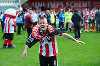 Lincoln City's Terry Hawkridge celebrates winning the league<br /> <br /> Photographer Chris Vaughan/CameraSport<br /> <br /> Vanarama National League - Lincoln City v Macclesfield Town - Saturday 22nd April 2017 - Sincil Bank - Lincoln<br /> <br /> World Copyright &copy; 2017 CameraSport. All rights reserved. 43 Linden Ave. Countesthorpe. Leicester. England. LE8 5PG - Tel: +44 (0) 116 277 4147 - admin@camerasport.com - www.camerasport.com