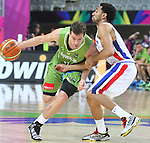 06.09.2014. Barcelona, Spain. 2014 FIBA Basketball World Cup, round of 16. Picture show G. Dragic  in action during game between Dominican Republic  v Slovenia  at Palau St. Jordi