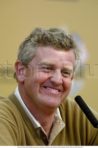 Portrait of COLIN MONTGOMERIE during a press conference, 34th Ryder Cup, The Belfry, Sutton Coldfield, 020925. Photo: Glyn Kirk/Action Plus...2002.cup cups trophies trophy.golf golfers golfer.portraits... .... ......