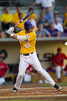 LSU Tigers outfielder Alex Edward #13 at bat during the NCAA Super Regional baseball game against Stony Brook on June 10, 2012 at Alex Box Stadium in Baton Rouge, Louisiana. Stony Brook defeated LSU 7-2 to advance to the College World Series. (Andrew Woolley/Four Seam Images)