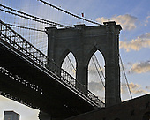 A view of the Brooklyn Bridge just before sunset from the Tobacco Warehouse before the slide show.<br />