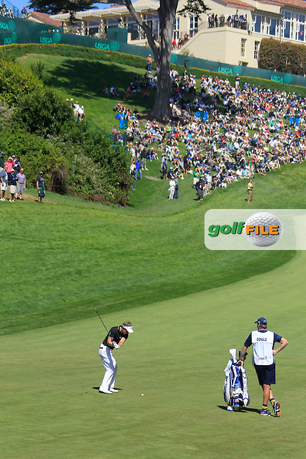 Luke Donald (ENG) plays his 2nd shot into the 18th green during Friday's Round 2 of the 112th US Open Championship at The Olympic Club, San Francisco,  California, 15th June 2012 (Photo Eoin Clarke/www.golffile.ie)