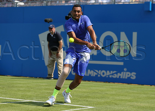 June 19th 2017, Queens Club, West Kensington, London; Aegon Tennis Championships, Day 1; Nick Kyrgios of Australia plays a backhand versus Donald Young of USA