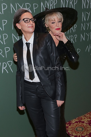 "NEW YORK, NY - OCTOBER 31 : Actress Bette Midler (R) and Guest arrive for the New York Restoration Project's 19th Annual Hulaween Gala ""FELLINI HULAWEENI"" held at the Waldorf Astoria on October 31, 2014 in New York City.  (Photo by Brent N. Clarke / MediaPunch)"