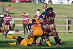Tokoa Tou looks for support as the TK defenders arrive. CMRFU Counties Power Cup Game of the Week between Te Kauwhata & Puni played at Te Kauwhata on Saturday May the 3rd, 2008..Te Kauwhata led 5 - 0 at halftime & went on to win 29 - 0.
