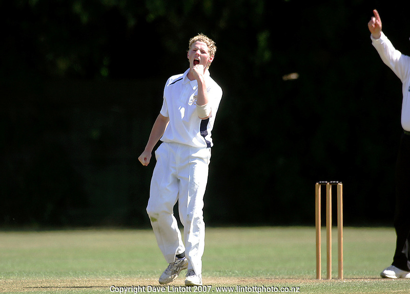 Jordie Gibbens celebrates getting Westlake's James Coughlan out, his third wicket in the final against Westlake during the Gillette Cup Cricket final between Christchurch BHS and Westlake BHS at Fitzherbert Park, Palmerston North, New Zealand on Sunday, 16 December 2007. Photo: Dave Lintott / lintottphoto.co.nz