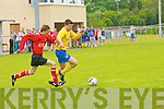 Cillian Beasley (Asdee) in action with 12 Killorglin in the Dennys Premier B final at Mounthawk Park on Sunday.