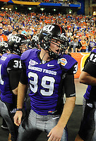 Jan. 4, 2010; Glendale, AZ, USA; TCU Horned Frogs snapper (39) Daniel Shelley against the Boise State Broncos in the 2010 Fiesta Bowl at University of Phoenix Stadium. Boise State defeated TCU 17-10. Mandatory Credit: Mark J. Rebilas-