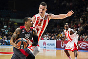 9th February 2018, Aleksandar Nikolic Hall, Belgrade, Serbia; Euroleague Basketball, Crvenz Zvezda mts Belgrade versus AX Armani Exchange Olimpia Milan; Guard Curtis Jerrells of AX Armani Exchange Olimpia Milan drives to the basket while Center Alan Omic of Crvena Zvezda mts Belgrade tries to stop him