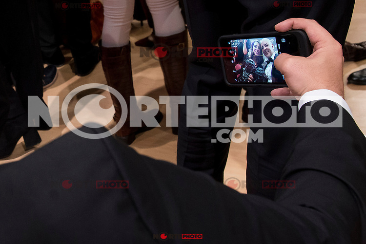Silvia Perez Cruz and Roberto Alamo taking a selfie after the photo family for the media award at Madrid Marriott Auditorium Hotel in Madrid, Spain. February 04, 2017. (ALTERPHOTOS/BorjaB.Hojas) /NORTEPHOTO.COM