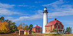 Pictured Rocks National Lakeshore, MI: Au Sable Light Station (1874) on Au Sable Point in fall