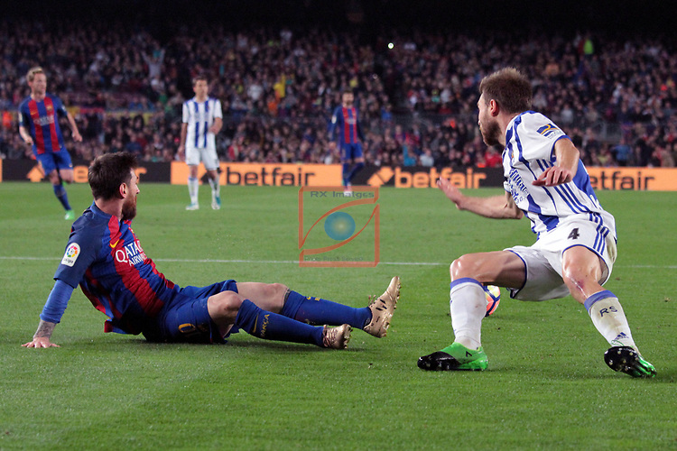 League Santander 2016/2017. Game: 32.<br /> FC Barcelona vs Real Sociedad: 3-2.<br /> Lionel Messi vs Illarra.