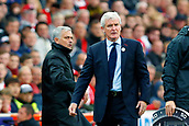 9th September 2017, bet365 Stadium, Stoke-on-Trent, England; EPL Premier League football, Stoke City versus Manchester United; Manchester United Manager Jose Mourinho tangles with Stoke City Manager Mark Hughes