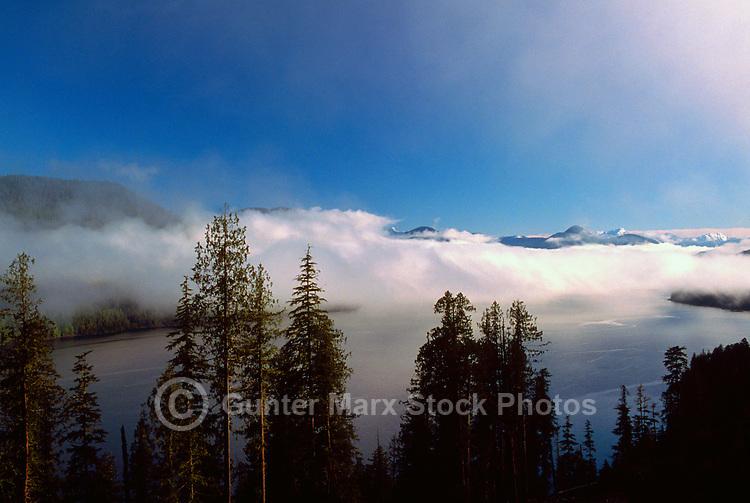 Cloud Formations over Nitinat Lake, Vancouver Island, BC, British Columbia, Canada