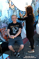 AJ Alexander - Make Up Artist Jessica Fierro working on Mat Vansen on the set of Mind Over Matter on Friday May 13, 2011..Photo by AJ Alexander