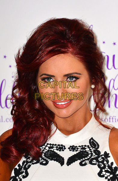 Amy Childs launches her fourth clothing collection for Spring / Summer 2013, Millenium Mayfair Hotel, London, England..30th January 2013.headshot portrait white sleeveless black  lace embroidered .CAP/BF.©Bob Fidgeon/Capital Pictures.