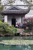 Suzhou, Jiangsu, China.  Pavilion Overlooking Garden Pond, House of the Master of the Nets.
