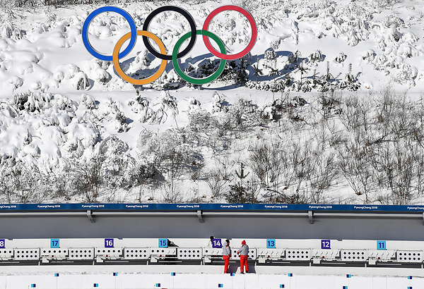 Technicians preparing the shooting range in the Alpensia Biathlon Centre in Pyeongchang, South Korea, 07 February 2018. The Pyeongchang 2018 Winter Olympics take place between 09 and 25 February. Photo: Hendrik Schmidt/dpa-Zentralbild/dpa /MediaPunch ***FOR USA ONLY***
