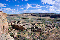 Chaco Canyon, Pueblo Bonito Greathouse from high trail, Anasazi, NM